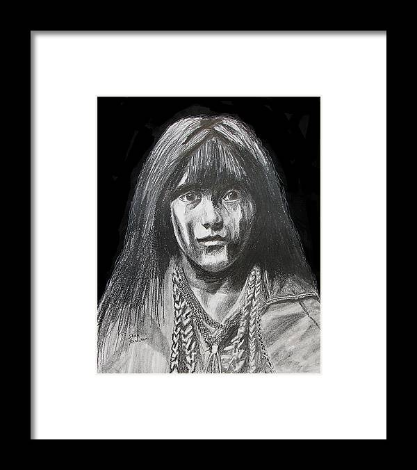 Original Drawing Framed Print featuring the drawing Indian Princess by Stan Hamilton