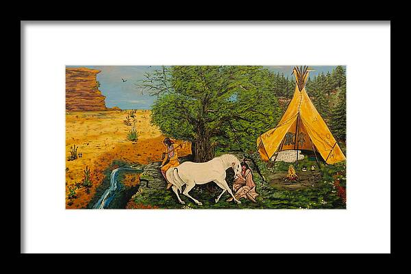 Horses Framed Print featuring the painting Indian Romance by V Boge