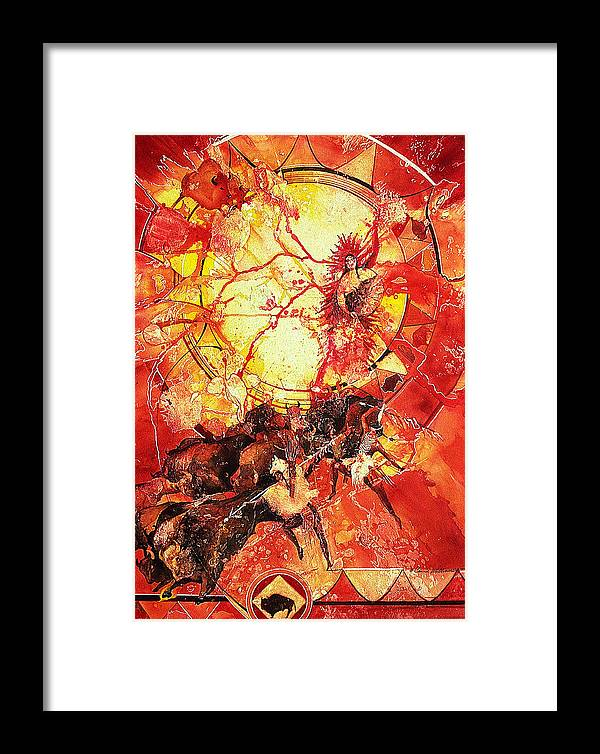 American Indian Framed Print featuring the painting Indian Spiritual Hunt by Connie Williams