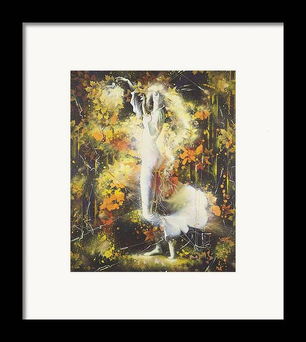 Figures Framed Print featuring the painting Indian Summer by Andrej Vystropov