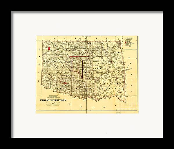Reproduction Framed Print featuring the drawing Indian Territory by Pg Reproductions