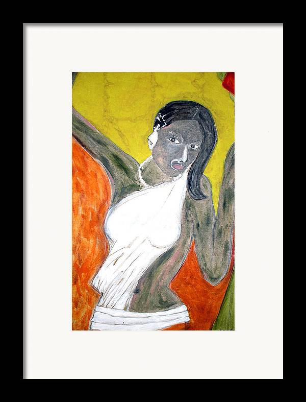 Woman Framed Print featuring the painting Indian Tribal Woman by Narayanan Ramachandran