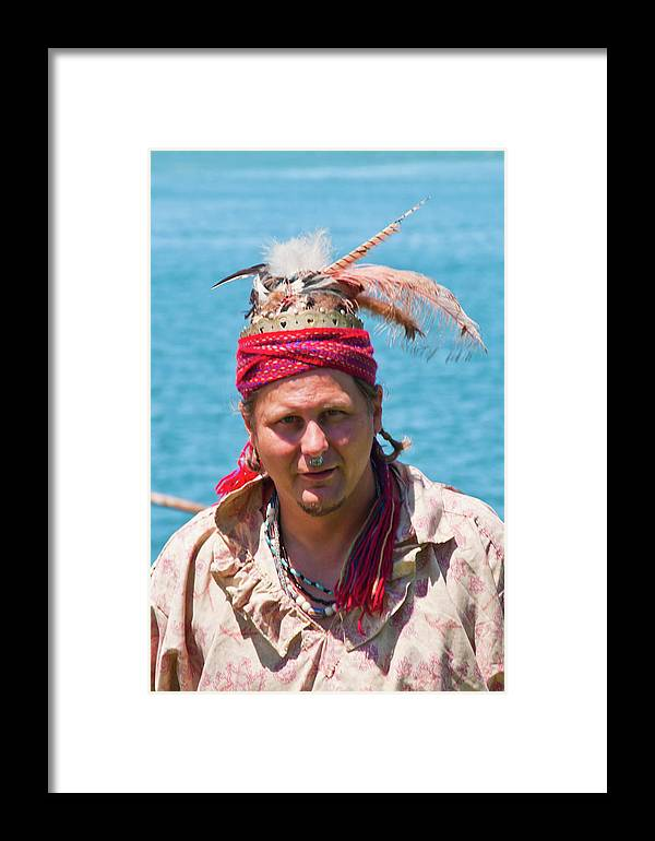 French & Indian War Re-enactor Framed Print featuring the photograph Indian Vii 6681 by Guy Whiteley