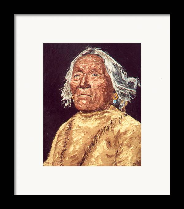 Indian Framed Print featuring the painting Indian Warrior by Stan Hamilton