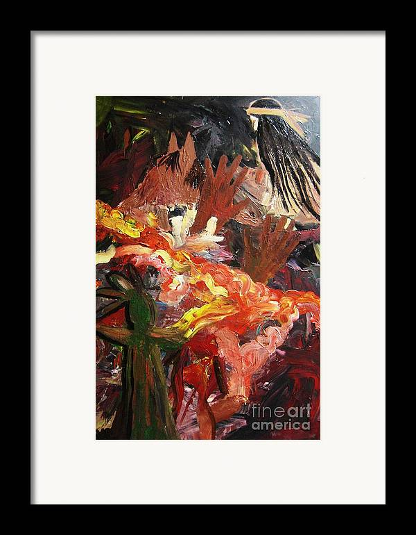 Indian Framed Print featuring the painting Indian Woman And Her Answered Prayers by Karen L Christophersen