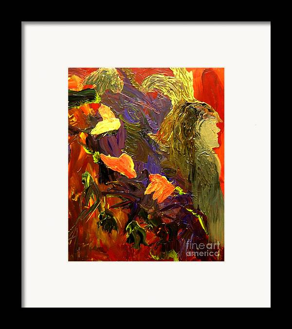 Indian Framed Print featuring the painting Indian Woman And Her Expelled Haunts by Karen L Christophersen