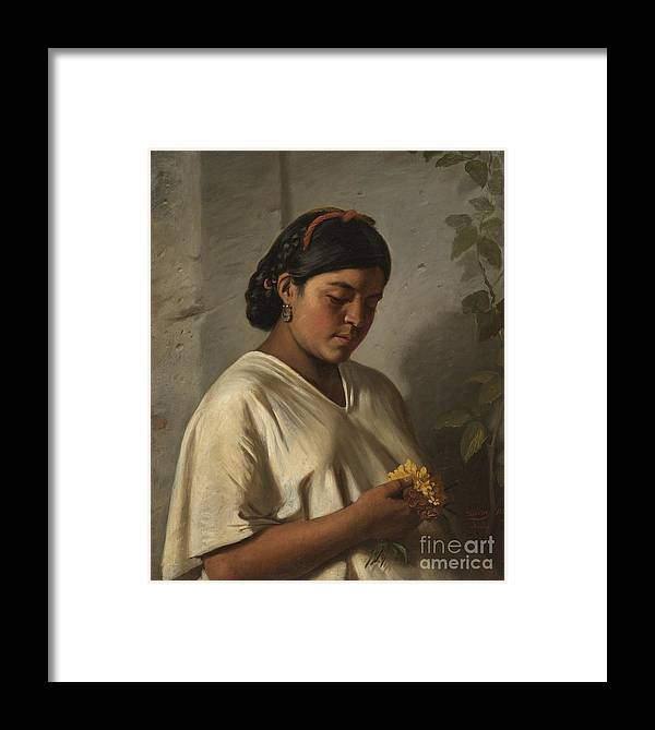 Indian Woman With Marigold (mujer Ind�gena Con Cempas�chil) Felipe Santiago Guti�rrez (mexico Framed Print featuring the painting Indian Woman With Marigold by MotionAge Designs
