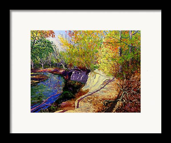 Fall Framed Print featuring the painting Indiana Creek Bank by Stan Hamilton