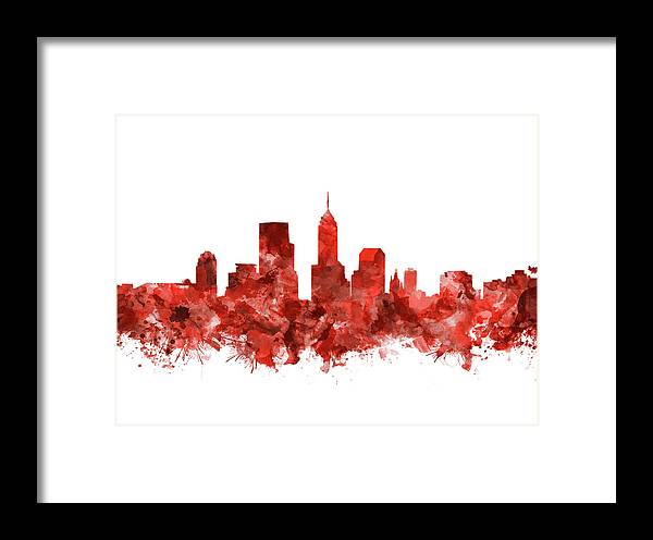 Indianapolis Skyline Watercolor Red Framed Print by Bekim Art