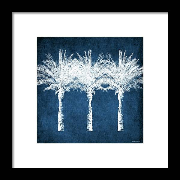 Palm Tree Framed Print featuring the mixed media Indigo And White Palm Trees- Art by Linda Woods by Linda Woods