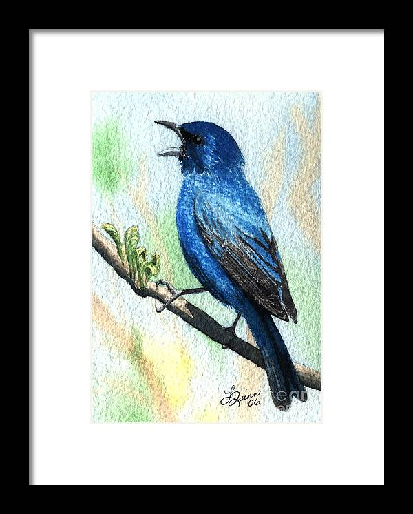 Bird Framed Print featuring the painting Indigo Bunting by Lynn Quinn