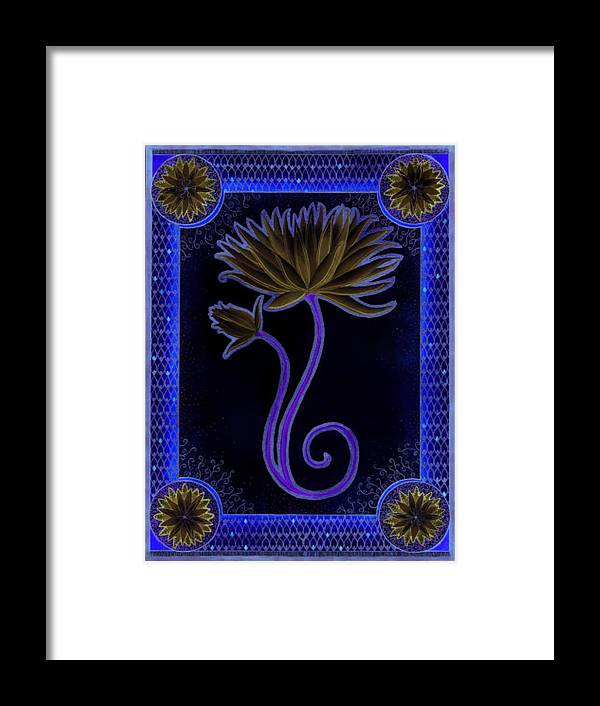 Indigo Framed Print featuring the painting Indigo Lily by Erin M R Flores