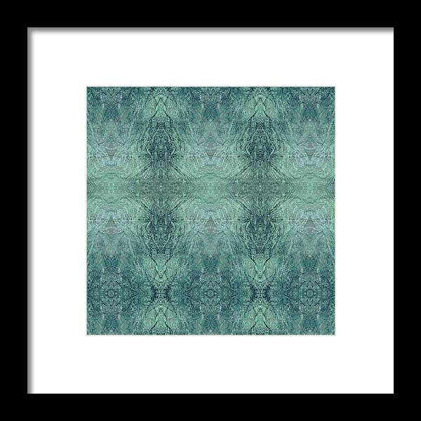 Abstract Framed Print featuring the digital art Indigo Lotus Lace Pattern 1 by Kristin Doner