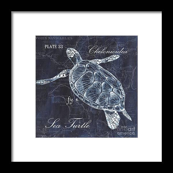 Turtle Framed Print featuring the painting Indigo Verde Mar 2 by Debbie DeWitt
