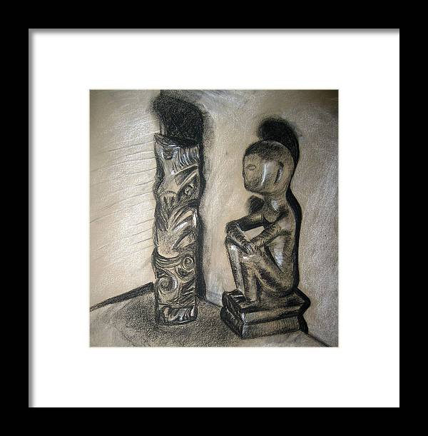 Figures Framed Print featuring the drawing Indio by Jessica De la Torre