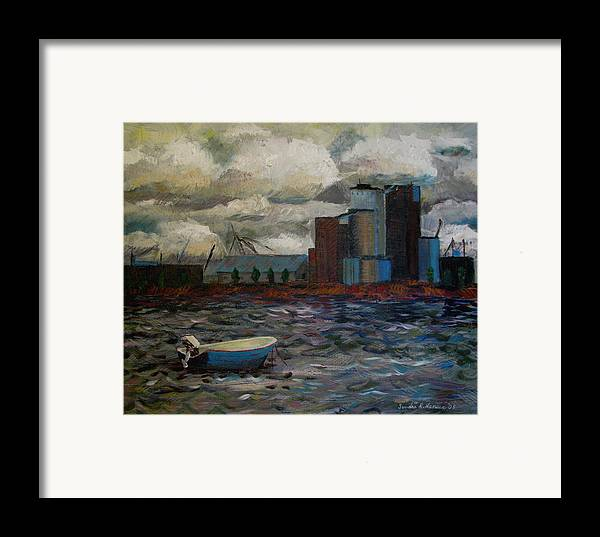 Industry Framed Print featuring the painting Industrial Fishing by Art Nomad Sandra Hansen