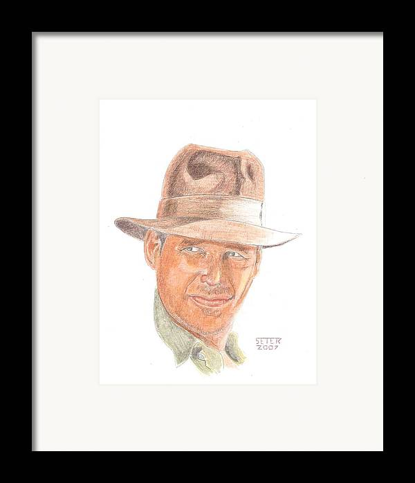 Indiana Jones Harrison Ford Framed Print featuring the mixed media Indy by David Seter