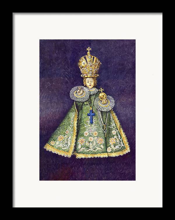 Watercolour Framed Print featuring the painting Infant Jesus Of Prague by Yuriy Shevchuk