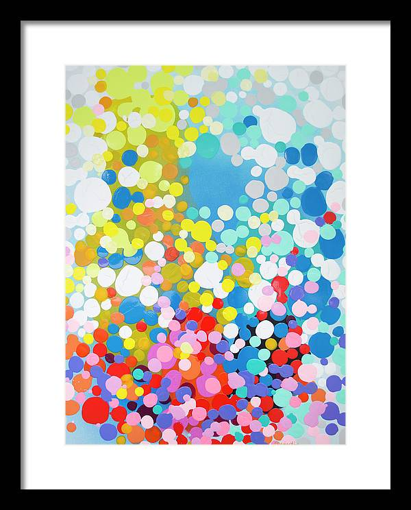 Abstract Framed Print featuring the painting Infatuation by Claire Desjardins