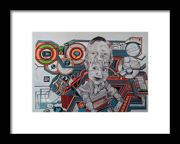 Tecnologi Framed Print featuring the drawing Infections by Yudhit Hadi