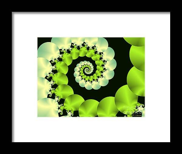 Digital Framed Print featuring the digital art Infinite Chartreuse by Sandra Bauser Digital Art