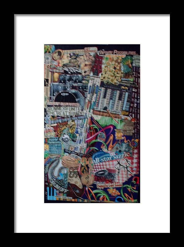 Music Sound Drums Guitar Framed Print featuring the mixed media Infinite Sounds by Nancy Graham