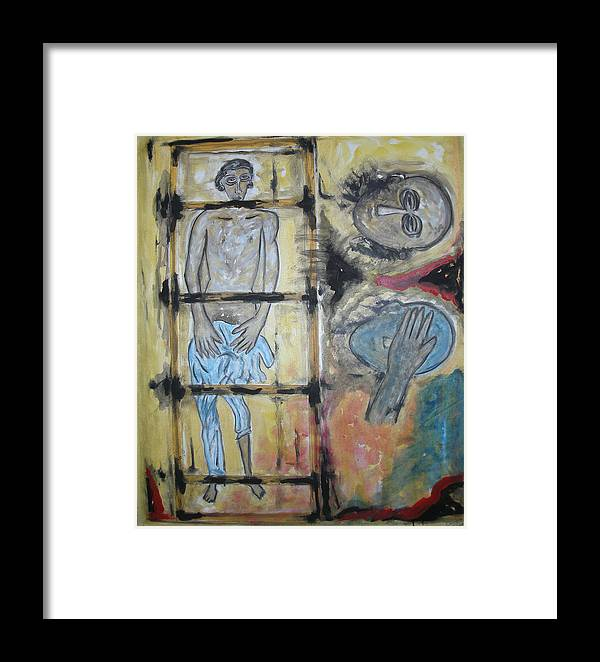 Man Framed Print featuring the painting Inhumanity by Narayanan Ramachandran