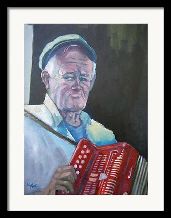 Portrait Figure Framed Print featuring the painting Inis Mor Accordian Player by Kevin McKrell