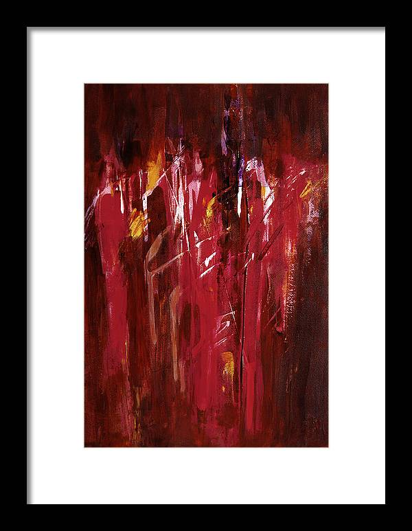Abstract Framed Print featuring the painting Initiation by Tara Moorman