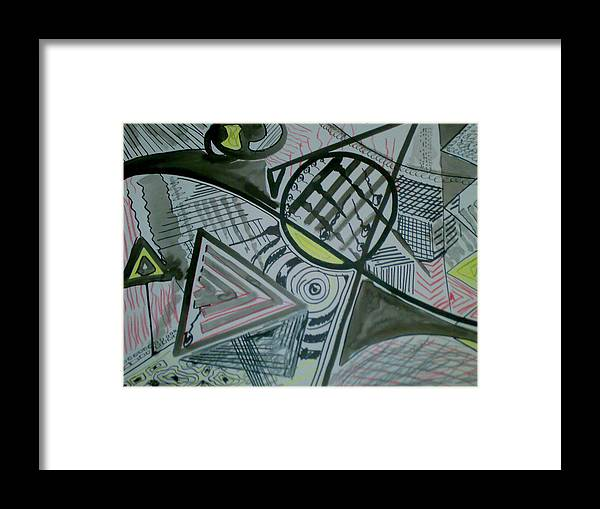 Ink Framed Print featuring the drawing Ink by Karim Baziou