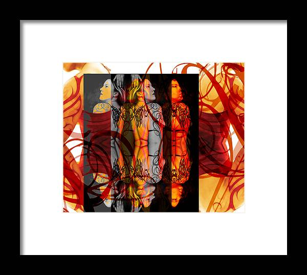Abstract Framed Print featuring the digital art Ink Sisters 11.11 by Erika Brown
