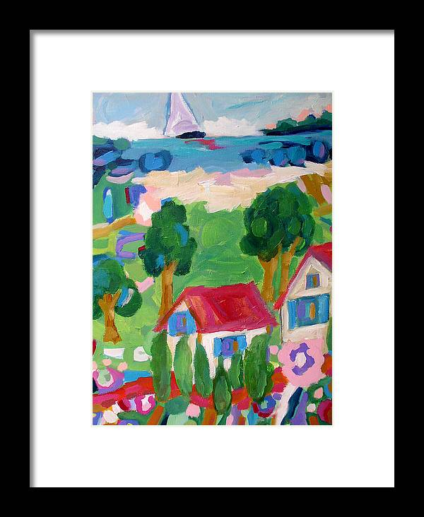 Sea Framed Print featuring the painting Inlet Life by Karen Fields
