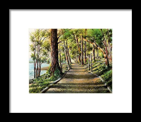 Landscape Framed Print featuring the painting Inlet Shore-port Moody by Dumitru Barliga