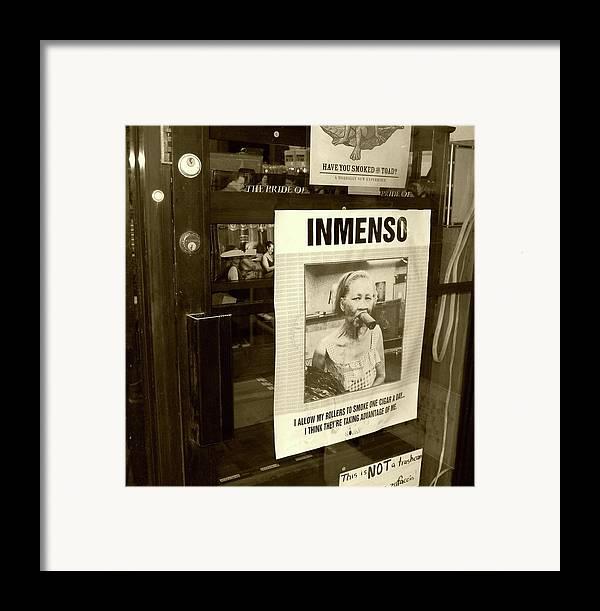 Cigar Framed Print featuring the photograph Inmenso Cohiba by Debbi Granruth