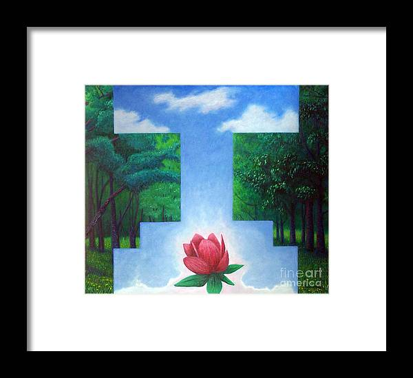 Spiritual Framed Print featuring the painting Inner Bliss by Brian Commerford