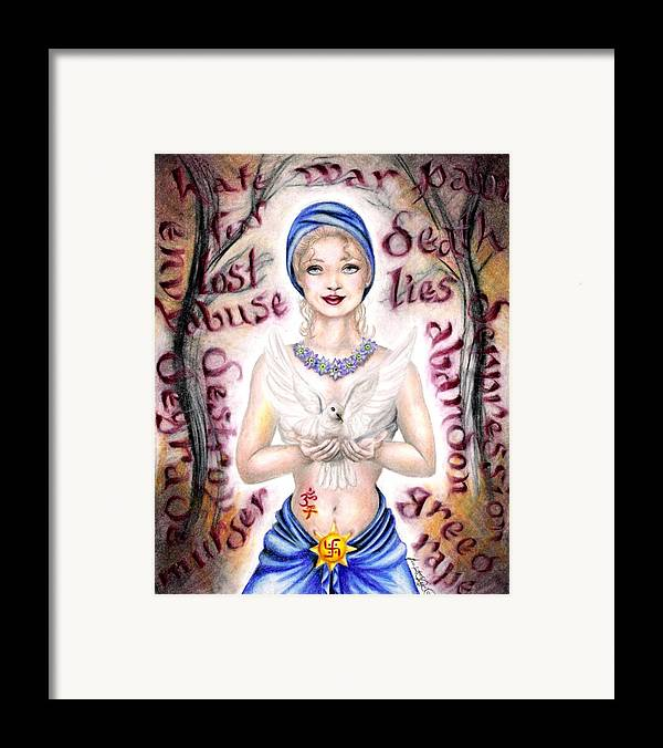 Peace Project Framed Print featuring the drawing Inner Peace by Scarlett Royal
