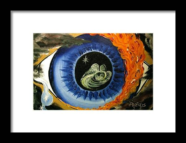 Large Blue Eye Surrounded By Black Framed Print featuring the painting Inner Sight by Pam Ellis