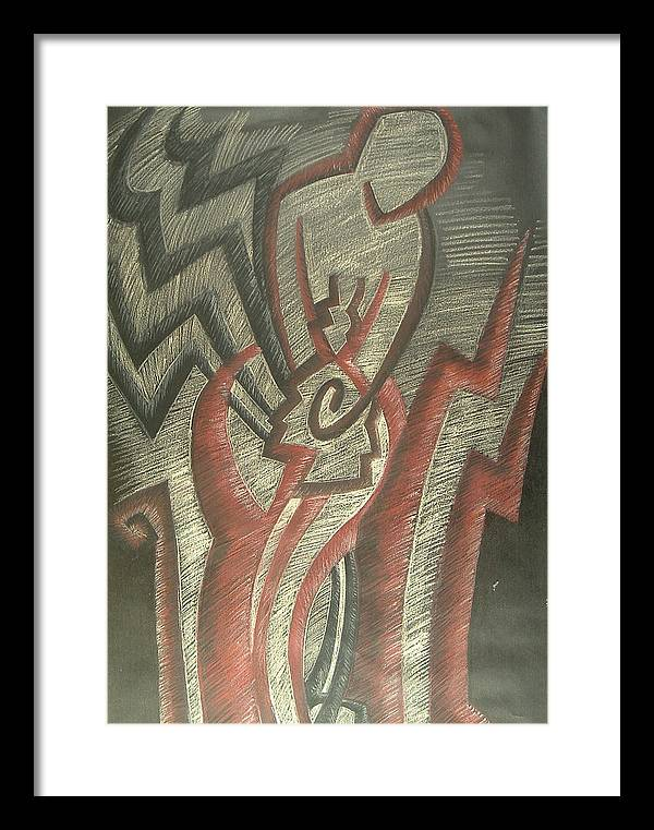 Drawing Framed Print featuring the drawing Inner Turmoil detail by Donald Burroughs