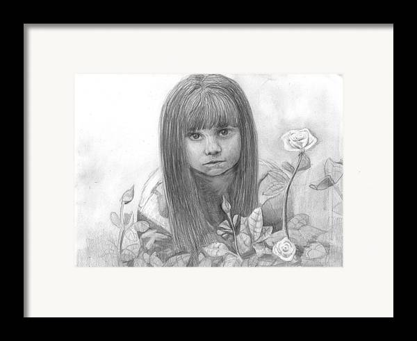 Little Girl Roses Framed Print featuring the drawing Innocence by Katie Alfonsi