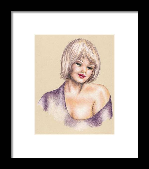 Portrait Framed Print featuring the drawing Innocence by Scarlett Royal