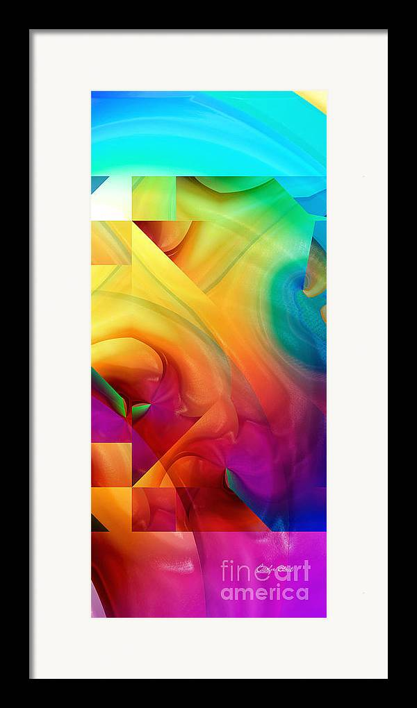 Abstract Realism Blocks Forms Female Abstract Framed Print featuring the digital art Inside Outside Upside Down by Carolyn Staut