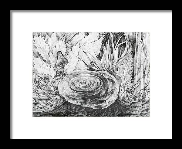 Tree Stump Framed Print featuring the drawing Inside The Forest by Anna Duyunova