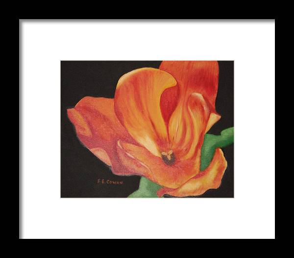 Tulip Framed Print featuring the painting Inside The Tulip by SueEllen Cowan