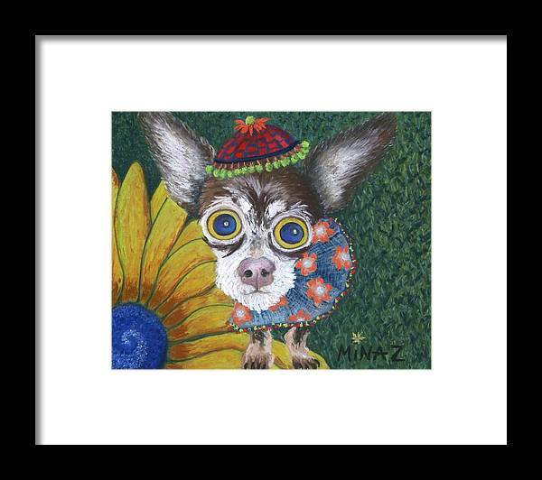 Chihuahua Framed Print featuring the painting Inside Van Gogh's Garden Sits Sunflower Sally by Minaz Jantz