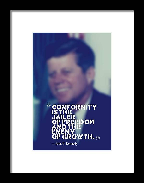 Motivational Framed Print featuring the painting Inspirational Quotes - Motivational - John F. Kennedy 9 by Celestial Images