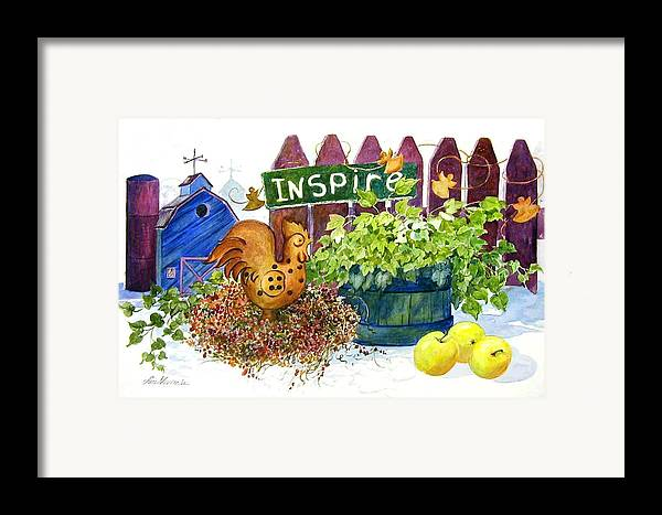 Rooster;barn;apples;ivy;fence;inspiration;country;still Life; Framed Print featuring the painting Inspire by Lois Mountz