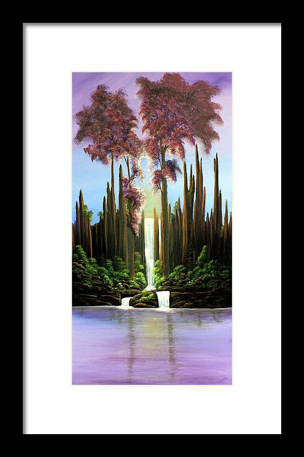 Waterfall Framed Print featuring the painting Inspireation Falls by Dawn Blair
