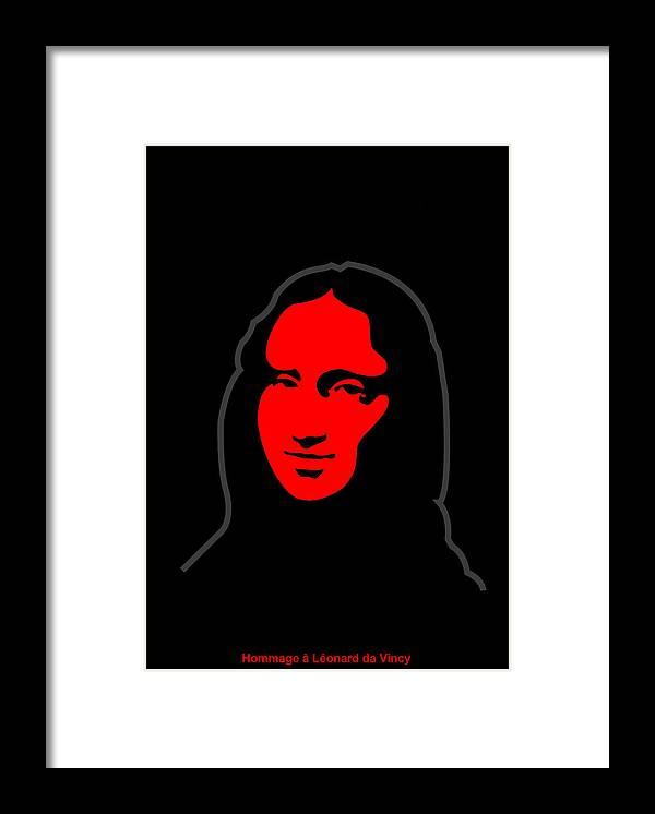 Mona Lisa Framed Print featuring the digital art Inspired by Mona Lisa - Hommage a Leonardo da Vincy by Asbjorn Lonvig