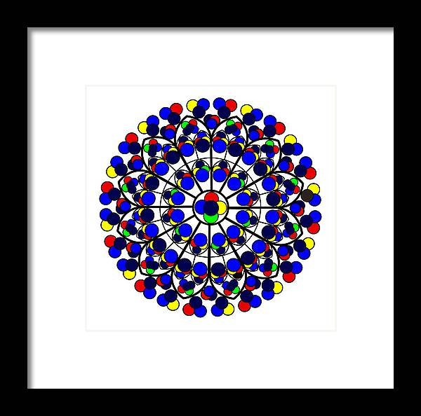 South Rose Window Framed Print featuring the digital art Inspired By South Rose Window Notre Dame De Paris by Asbjorn Lonvig