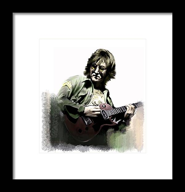 John Lennon Framed Print featuring the painting John Lennon Instant Karma Too by Iconic Images Art Gallery David Pucciarelli